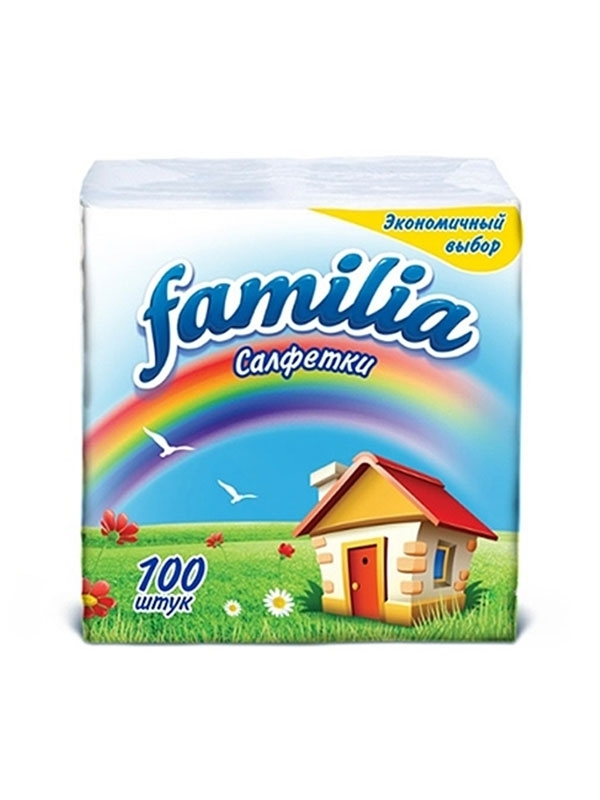 Familia салфетки белые 1 слой 24х23см 100шт