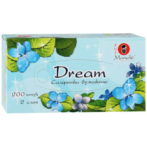 """Салфетки бумажные """"Maneki"""" Dream 2 слоя, белые, 200 штуки"""