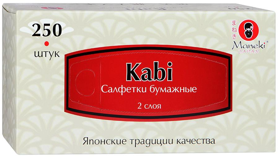 """Салфетки бумажные """"Maneki"""" Kabi 2 слоя, белые, 250 штуки"""