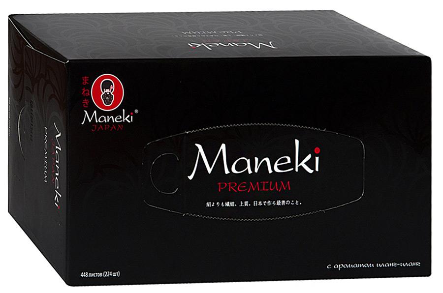 """Салфетки бумажные """"Maneki"""" Black&White с ароматом иланг-иланг, 2 слоя, белые, 224 штуки"""