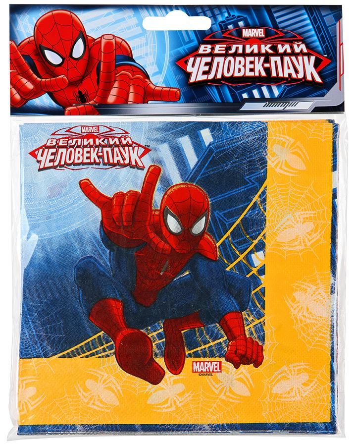 Салфетка Веселая затея Marvel Человек-Паук 33см, 12шт