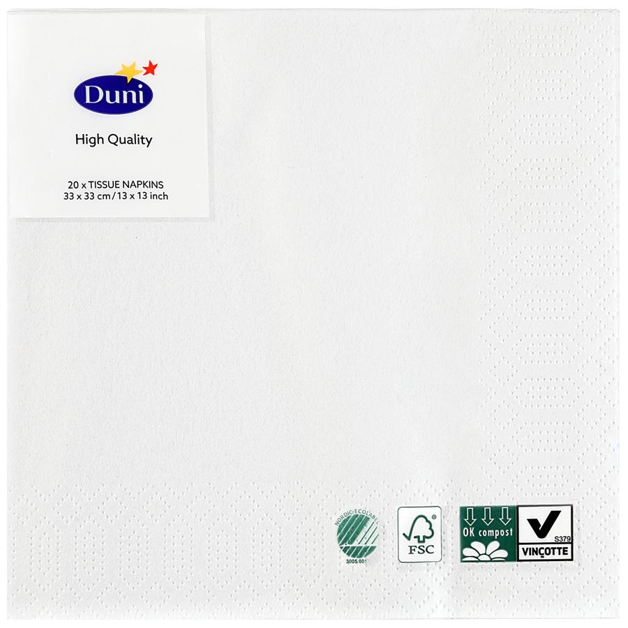 Салфетки бумажные Duni 3 слоя белые 33 х 33 см, 20 шт