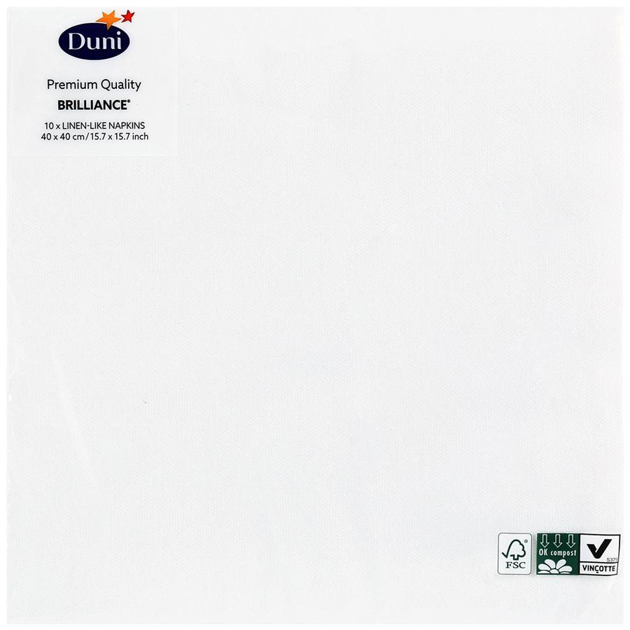 Салфетки Duni Lin Brilliance White 40*40см 10шт