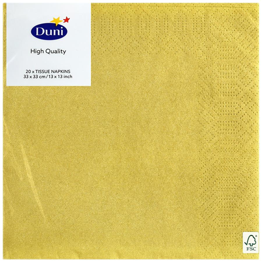 Салфетки Duni 3-х слойные золотой, 33*33см 20шт