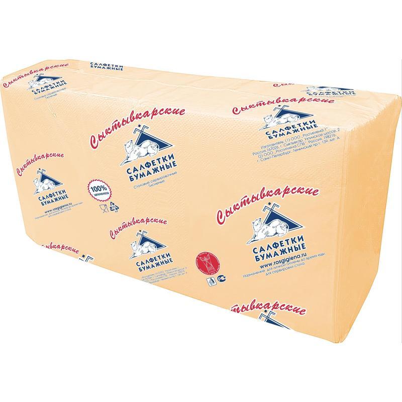 Салфетки бумажные Profi Pack 2-слойные 33х33 см шампань (200 штук в упаковке)