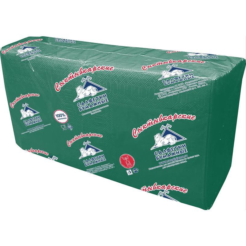 Салфетки бумажные Profi Pack 33x33 см зеленые 2-слойные 200 штук в упаковке