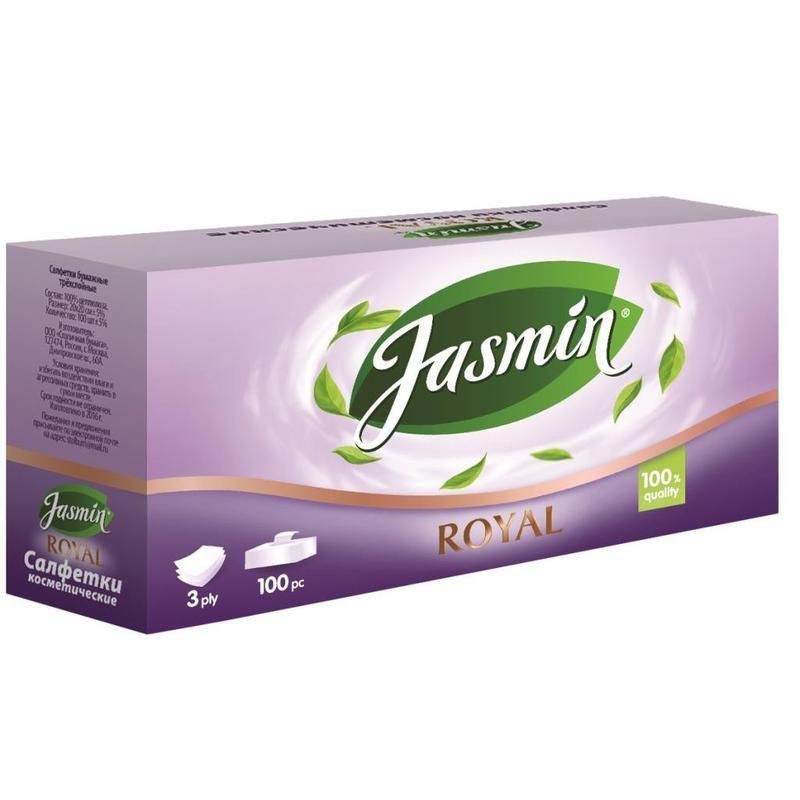 Салфетки косметические Jasmin Royal 3-слойные (100 штук в упаковке)