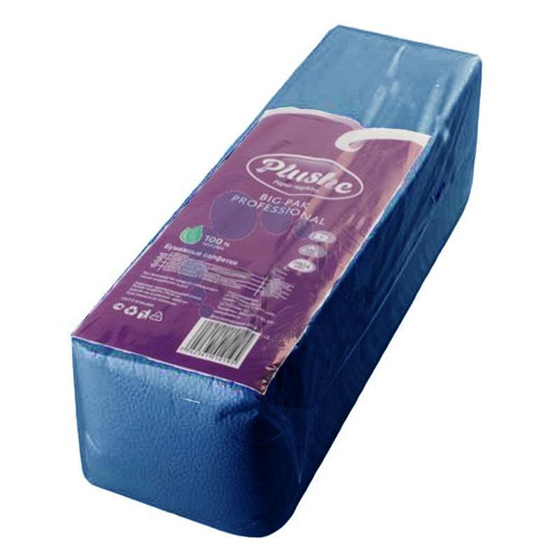 Салфетки бумажные Plushe Maxi Professional 1-слойные 24x24 см синие (400 штук в упаковке)