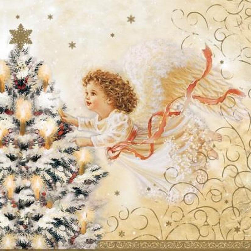 Салфетки бумажные Vitto Рождественский ангел (3-слойные, 25x25 см, с рисунком, 20 штук в упаковке)