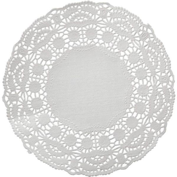 Ажурные салфетки бумажные Vitto диаметр 16 см белые 1-слойные 100 штук в упаковке