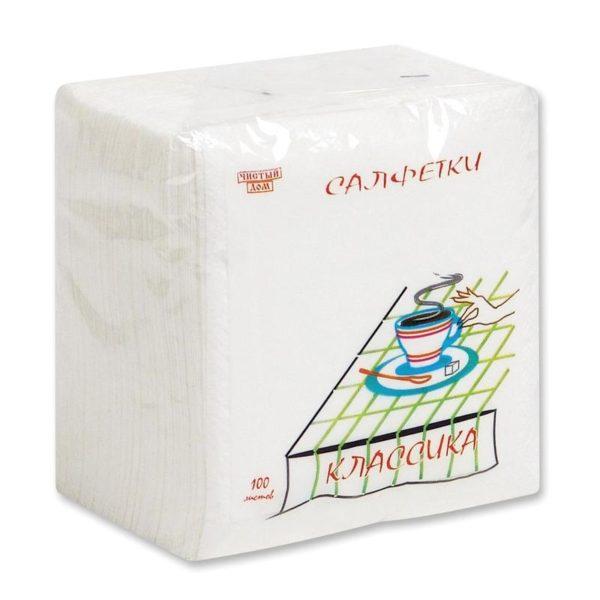 Салфетки бумажные (1-слойные, 24x24 см, белые, 100 штук в упаковке)