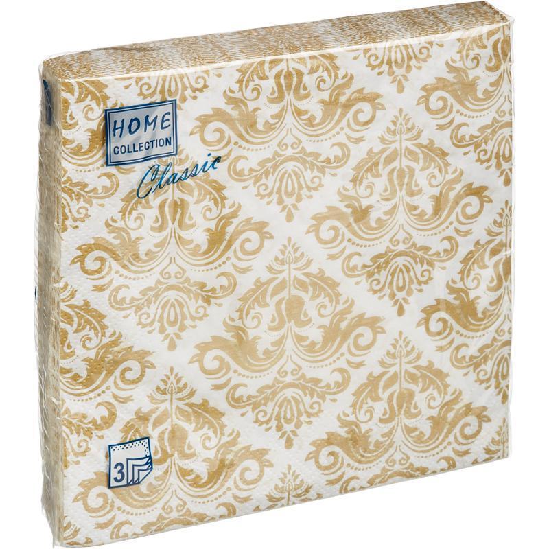 Салфетки бумажные Классика 33x33 см белые 3-слойные 20 штук в упаковке