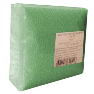 Салфетки бумажные Style 1-слойные 24x24 см салатовые (75 штук в упаковке)